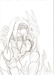 Size: 931x1280 | Tagged: safe, artist:droll3, earth pony, pony, crossover, guilty gear, monochrome, ponified, simple background, sketch, traditional art, white background, xrd, zato-1