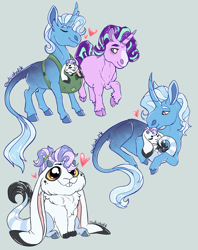 Size: 1500x1898 | Tagged: safe, artist:owlcoholik, starlight glimmer, trixie, oc, oc:white rabbit, classical unicorn, hybrid, unicorn, baby, cloven hooves, family, female, interspecies offspring, leonine tail, lesbian, mother and child, offspring, parent:discord, parent:starlight glimmer, parent:trixie, parents:trixcord, shipping, simple, startrix, unshorn fetlocks