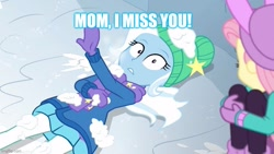 Size: 800x450 | Tagged: safe, edit, edited screencap, screencap, fluttershy, trixie, equestria girls, equestria girls series, holidays unwrapped, spoiler:eqg series (season 2), caption, image macro, implied sunflower spectacle, text