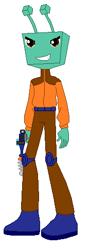 Size: 179x486 | Tagged: safe, artist:mlpandboboiboyfan, edit, alien, equestria girls, adu du, antlers, blue boots, boboiboy, brown eyes, brown pants, lasergun, orange jacket, smiling, square head, tracksuit