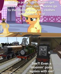 Size: 1000x1200 | Tagged: safe, edit, edited screencap, screencap, applejack, honest apple, benson (stories of sodor), clothes, devious diesel, diesel, jeans, locomotive, meme, pants, ripped jeans, sodor shorts, steam engine, stories of sodor, thomas and friends, thomas the tank engine, trainz simulator, whiff