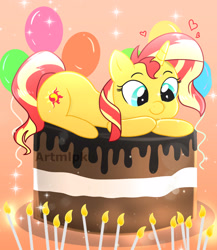 Size: 2599x3000 | Tagged: safe, artist:artmlpk, sunset shimmer, pony, unicorn, adorable face, adorkable, balloon, beautiful, birthday, cake, candle, chocolate, chocolate cake, cute, cutie mark, dessert, dork, equestria girls ponified, female, food, happy birthday, heart, looking down, mare, ponified, prone, shimmerbetes, simple background, solo, watermark