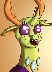Size: 1500x2063   Tagged: safe, artist:starbat, thorax, changedling, changeling, bust, cursed image, cute, freckles, king thorax, male, open mouth, portrait, solo, spongebob squarepants, teeth, thorabetes