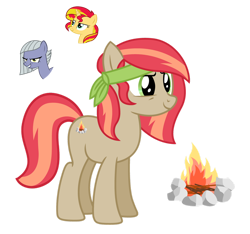 Size: 1280x1199 | Tagged: safe, artist:tenderrain46, limestone pie, sunset shimmer, oc, earth pony, pony, female, magical lesbian spawn, mare, offspring, parent:limestone pie, parent:sunset shimmer, simple background, transparent background
