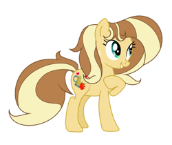 Size: 1600x1346 | Tagged: safe, artist:galaxyswirlsyt, oc, oc:apple pie, earth pony, pony, female, mare, offspring, parent:applejack, parent:caramel, parents:carajack, simple background, solo, transparent background