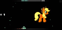 Size: 1480x720 | Tagged: safe, artist:hypernitegmd, applejack, earth pony, pony, female, geometry dash, mare, pixel art