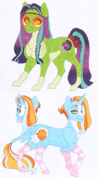 Size: 2550x4633 | Tagged: safe, artist:frozensoulpony, oc, oc only, oc:pixie, oc:thistle trill, pony, magical lesbian spawn, offspring, parent:starlight glimmer, parent:sunburst, parent:tree hugger, parent:trixie, parents:trixburst, traditional art