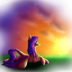 Size: 3750x3750 | Tagged: safe, artist:spirit-1, fluttershy, pony, prone, solo, sunset