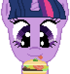 Size: 576x608 | Tagged: safe, artist:silent pone, derpibooru exclusive, twilight sparkle, alicorn, pony, borgarposting, burger, cheese, female, food, lettuce, mare, pixel art, simple background, solo, tomato, tongue out, transparent background