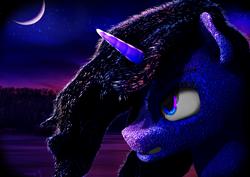 Size: 2401x1701 | Tagged: safe, artist:trigger_movies, nightmare moon, princess luna, alicorn, 3d, night