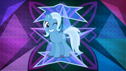Size: 3840x2160 | Tagged: safe, artist:anime-equestria, artist:laszlvfx, edit, trixie, pony, one eye closed, solo, wallpaper, wallpaper edit, wink