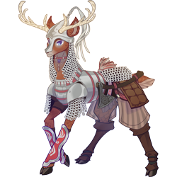 Size: 3073x3073 | Tagged: safe, artist:sitaart, oc, oc only, oc:quick stride, deer, ponyfinder, armor, axe, blue eyes, chainmail, clothes, dungeons and dragons, fantasy class, hatchet, helmet, knight, male, pen and paper rpg, rpg, simple background, weapon