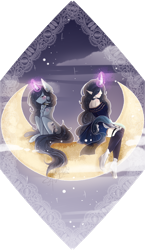 Size: 1292x2228 | Tagged: safe, artist:shiroikitten, oc, oc:moonheart, human, pony, unicorn, female, horn, horned humanization, humanized, magic, mare, moon