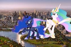Size: 1600x1067 | Tagged: safe, artist:chrzanek97, artist:princesslunayay, princess celestia, princess luna, alicorn, pony, australia, city, deviantart, deviantart watermark, duo, female, giant alicorn, giant ponies in real life, giant pony, giantess, giantlestia, grass, highrise ponies, irl, macro, mare, mega celestia, mega giant, mega luna, melbourne, obtrusive watermark, photo, ponies in real life, raised hoof, raised leg, royal sisters, siblings, sisters, smiling, smirk, tree, watermark