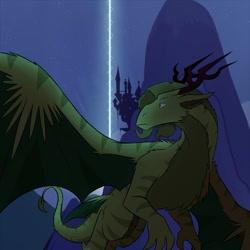Size: 1280x1280 | Tagged: safe, artist:professor-ponyarity, oc, oc:rye, dragon, tumblr:ask rye dimar dragon, canterlot castle, solo