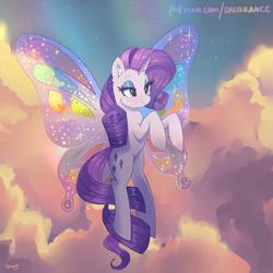 Size: 4000x4000 | Tagged: safe, artist:xjenn9, rarity, pony, butterfly wings, cloud, glimmer wings, solo, wings