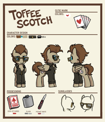 Size: 900x1050 | Tagged: safe, artist:plunger, oc, oc only, oc:toffee scotch, pegasus, card, clothes, cutie mark, flask, jacket, knife, leather jacket, male, meme, pegasus oc, playing card, reference sheet, sunglasses, text, texts from ponies, wings