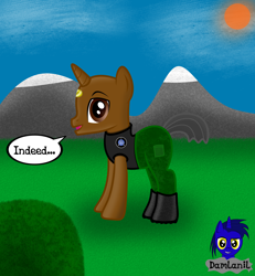 Size: 3840x4154 | Tagged: safe, artist:damlanil, pony, unicorn, boots, bush, clothes, cloud, horn, indeed, male, mountain, sg1, shoes, solo, stallion, stargate, stargate sg1, sun, teal'c, vector