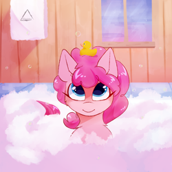 Size: 1500x1500 | Tagged: safe, artist:glazirka, pinkie pie, earth pony, pony, bath, bubble, cute, diapinkes, rubber duck, solo, towel, window
