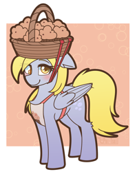 Size: 1186x1510 | Tagged: safe, artist:puetsua, derpy hooves, pegasus, animal crossing, apron, basket, clothes, ear fluff, food, muffin, simple background, solo