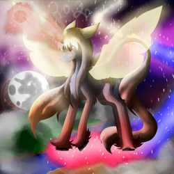 Size: 5800x5800 | Tagged: safe, artist:florarena-kitasatina/dragonborne fox, pony, absurd resolution, artificial wings, augmented, candy, cel shading, crossover, dat mane tho, dat tail tho, floppy ears, food, leonine tail, magic, magic wings, mare in the moon, moon, planet, ponified, shading, signature, space, spread wings, sweet breaker (qp shooting), sweet god, unshorn fetlocks, watermark, wings