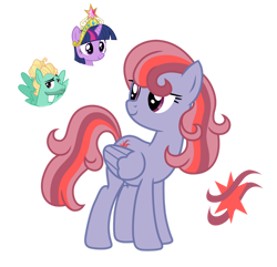 Size: 1280x1236 | Tagged: safe, artist:tenderrain46, twilight sparkle, zephyr breeze, oc, pegasus, pony, female, mare, parent:twilight sparkle, parent:zephyr breeze, parents:zephyrlight, simple background, transparent background