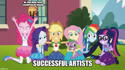 Size: 888x499 | Tagged: safe, edit, edited screencap, screencap, applejack, fluttershy, pinkie pie, rainbow dash, rarity, sci-twi, spike, spike the regular dog, sunset shimmer, twilight sparkle, dog, equestria girls, equestria girls series, forgotten friendship, depression, humane five, humane seven, humane six, sad, text