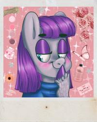Size: 1762x2202 | Tagged: safe, artist:churoswdulc, maud pie, pinkie pie, earth pony, pony, background pony, blushing, cute, female, mare, maudabetes, pie sisters, polaroid, siblings, sisters, smiling