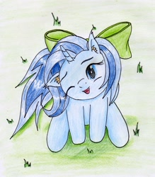 Size: 1966x2245 | Tagged: safe, artist:40kponyguy, derpibooru exclusive, oc, oc only, oc:fishy wishes, unicorn, bow, cute, ear fluff, floppy ears, grass, hair bow, head tilt, laughing, looking at you, looking up, ocbetes, one eye closed, requested art, solo, traditional art