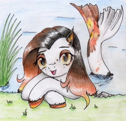 Size: 2207x2108   Tagged: safe, artist:40kponyguy, derpibooru exclusive, oc, oc only, unnamed oc, merpony, cute, ear fluff, female, fish tail, grass, looking at you, mare, ocbetes, requested art, solo, traditional art, unshorn fetlocks, water