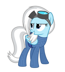 Size: 2652x2962 | Tagged: safe, artist:chomakony, oc, oc only, oc:raysteel, pegasus, pony, belt, catsuit, clothes, female, glasses, head turn, mare, pegasus oc, simple background, smiling, solo, transparent background, white hair, wings