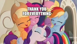 Size: 872x500 | Tagged: safe, edit, edited screencap, screencap, applejack, fluttershy, pinkie pie, rainbow dash, rarity, spike, twilight sparkle, alicorn, my little pony: the movie, caption, cropped, discovery family logo, group hug, heartwarming, hug, image macro, mane seven, mane six, positive ponies, text, twilight sparkle (alicorn)