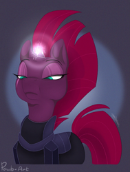 Size: 1249x1656 | Tagged: safe, artist:pawb-art, tempest shadow, unicorn, my little pony: the movie, abstract background, armor, broken horn, bust, eye scar, female, frown, glowing horn, horn, lidded eyes, mare, portrait, scar, signature, solo