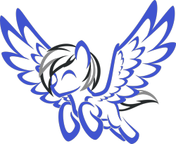 Size: 3650x3000 | Tagged: safe, artist:up1ter, oc, oc:driftor, pegasus, black mane, blue coat, colored, commission, cute, ears up, eyes closed, flying, gray mane, happy, lineart, male, pegasus oc, silhouette, simple background, solo, spread wings, stallion, thick outline, transparent background, two toned mane, two toned tail, wings, ych result, your character here