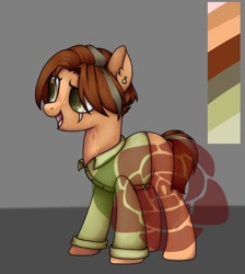 Size: 1080x1204 | Tagged: safe, artist:ash_helz, oc, oc only, earth pony, pony, clothes, ear piercing, earth pony oc, eye scar, open mouth, piercing, reference sheet, scar, solo, watermark