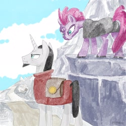 Size: 2048x2048 | Tagged: safe, artist:pfeffaroo, artist:pfeffaroo_art, chancellor neighsay, tempest shadow, pony, unicorn, bag, broken horn, clothes, duo, female, horn, male, mare, mountain, saddle bag, scenery, stallion