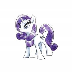 Size: 2048x2048 | Tagged: safe, artist:pfeffaroo, artist:pfeffaroo_art, rarity, pony, unicorn, female, mare, simple background, solo, white background