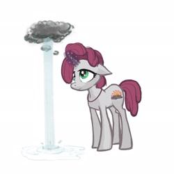 Size: 2048x2048 | Tagged: safe, artist:pfeffaroo, artist:pfeffaroo_art, oc, oc only, oc:stormy sunrise, pony, unicorn, cloud, floppy ears, glowing horn, horn, raincloud, simple background, solo, white background