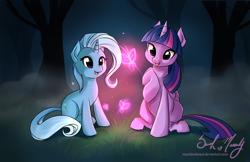 Size: 3042x1972 | Tagged: safe, artist:starshinebeast, trixie, twilight sparkle, alicorn, butterfly, pony, female, forest, lesbian, magic, mare, shipping, twilight sparkle (alicorn), twixie