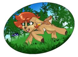 Size: 768x564 | Tagged: safe, artist:naaltive, oc, oc:ambii, butterfly, deer, butt freckles, ear piercing, earring, freckles, grass, jewelry, piercing, running, solo