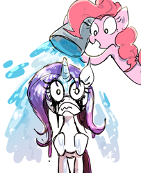 Size: 1300x1600 | Tagged: safe, artist:nendo, pinkie pie, rarity, earth pony, unicorn, angry, bucket, duo, makeup, mascara, pinkie prick, prank, running makeup, simple background, this will end in tears, water, wet, wet mane