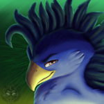 Size: 800x800 | Tagged: safe, artist:sursiq, oc, classical hippogriff, hippogriff, beak, blue, bust, painted, portrait, smiling, smirk, solo