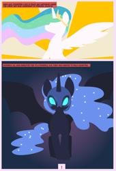 Size: 1600x2358 | Tagged: safe, artist:chedx, nightmare moon, princess celestia, princess luna, alicorn, comic:mlp the untold life, adventure, alternate universe, comic, fanfic, fantasy