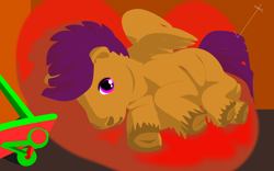 Size: 4800x3000 | Tagged: safe, scootaloo, pegasus, pony, beanbag chair, frog (hoof), inkscape, scooter, solo, underhoof, vector, wip