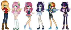 Size: 1280x545 | Tagged: safe, artist:fantarianna, applejack, fluttershy, pinkie pie, rainbow dash, rarity, twilight sparkle, human, applejack's hat, clothes, cowboy hat, denim, dress, eared humanization, goggles, hair ornament, hat, humanized, kneesocks, looking at you, mary janes, shoes, shorts, simple background, skirt, socks, standing, transparent background, victory sign, winged humanization, wings