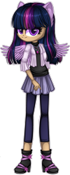 Size: 1280x3214 | Tagged: safe, artist:fantarianna, twilight sparkle, human, boots, eared humanization, humanized, jewelry, looking at you, necklace, shoes, simple background, solo, transparent background, wings
