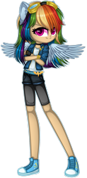 Size: 1280x2593 | Tagged: safe, artist:fantarianna, rainbow dash, human, choker, clothes, crossed arms, eared humanization, female, goggles, humanized, looking at you, shoes, shorts, shorts over shorts, simple background, sneakers, solo, transparent background, winged humanization, wings