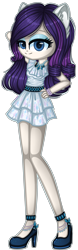 Size: 1216x3894 | Tagged: safe, artist:fantarianna, rarity, human, bracelet, clothes, dress, eared humanization, female, hand on hip, high heels, humanized, jewelry, looking at you, necklace, shoes, simple background, solo, transparent background