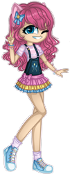 Size: 1280x3154 | Tagged: safe, artist:fantarianna, pinkie pie, human, bracelet, clothes, female, hair ornament, hair ribbon, humanized, jewelry, looking at you, one eye closed, shoes, simple background, skirt, smiling, smiling at you, sneakers, socks, solo, transparent background, victory sign, wink