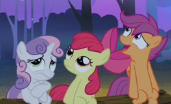 Size: 1262x766 | Tagged: safe, screencap, apple bloom, scootaloo, sweetie belle, sleepless in ponyville, cropped, cutie mark crusaders, log, open mouth, scared, sitting, smiling, trio, wavy mouth